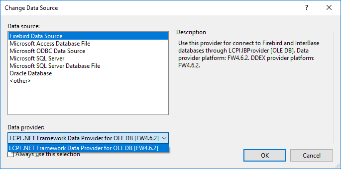 Dialog box for data source selection