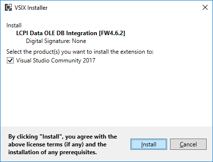 VSIX Installer. Begin of installation