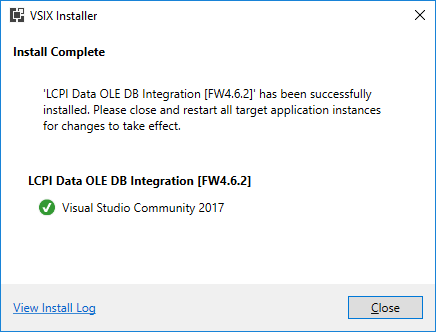 VSIX Installer. Installation completed