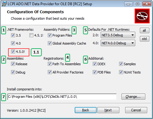 LCPI ADO.NET Installer. Selection and configuration of installed components.