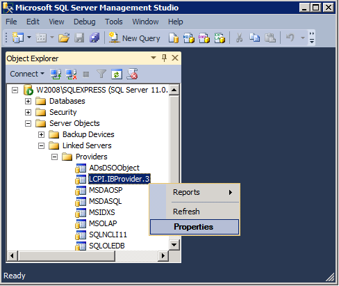 Registration and work with Linked Server of MSSQL 2012 — Firebird