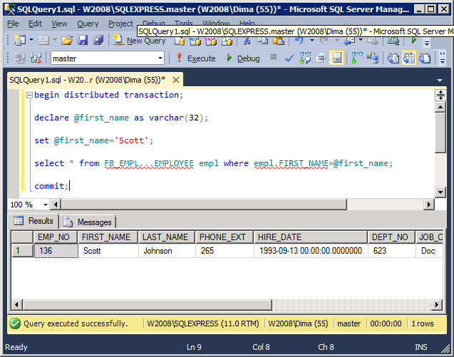 Registration and work with Linked Server of MSSQL 2012