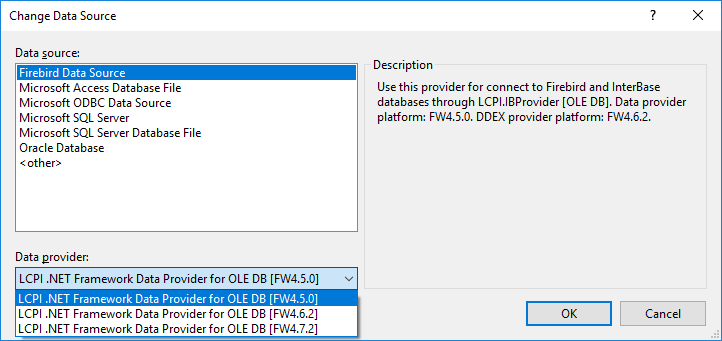Dialog for Data Source Selection