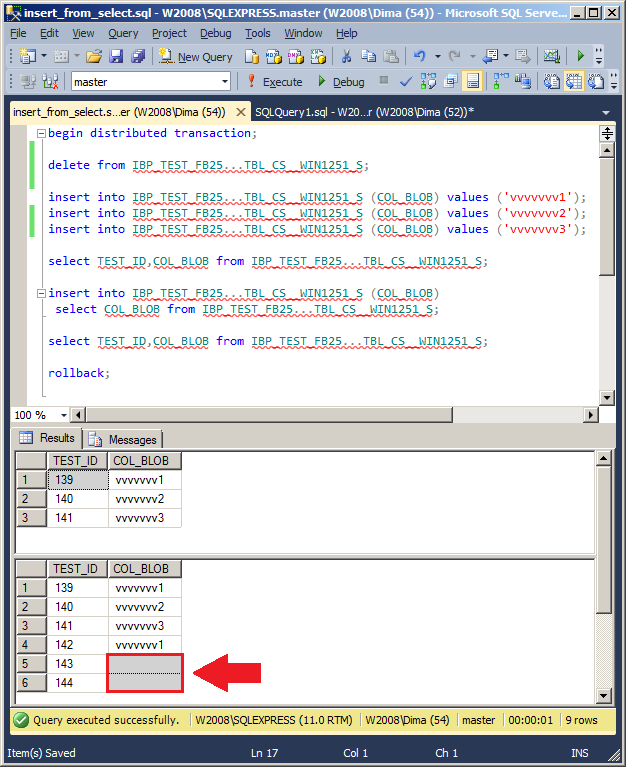 MSSQL Management Studio. Screenshot. Demonstration of incorrect work.